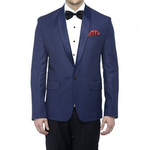 Favoroski Men's Polyester and Viscose Blazers - Navy Blue