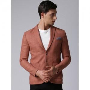 True Blue Rust Red Slim Fit Single-Breasted Casual Blazer