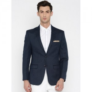 Park Avenue Blue Slim Fit Self-Design Single-Breasted Formal Blazer