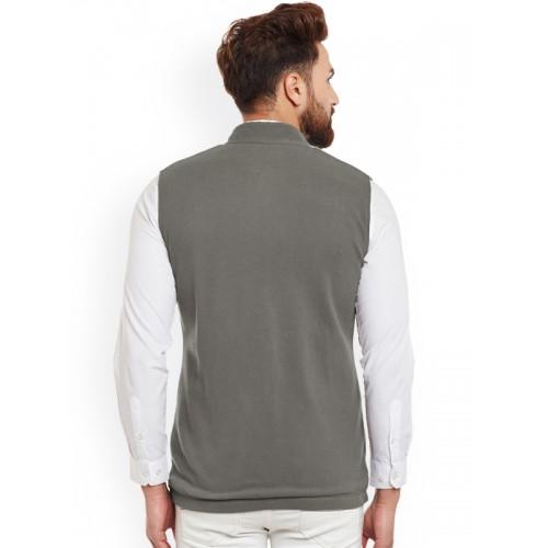 Hypernation Men Grey Single-Breasted Waistcoat