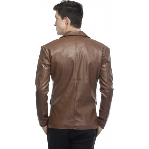 Lambency Brown Leather Solid Single Breasted Casual Blazer