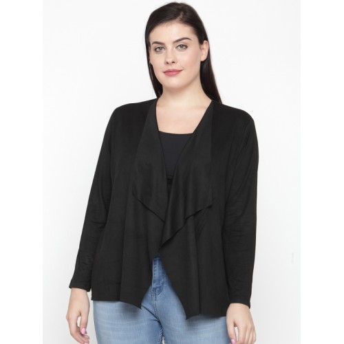 6e5421c1dd4 Buy nexus Black Solid Waterfall Shrug with Suede Finish online ...