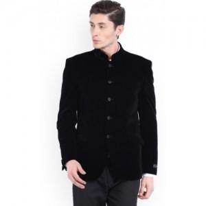 V Dot by Van Heusen Black Solid Mandarin Casual Men's Blazer