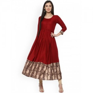 Ives Maroon Floral Viscose Stitched Kurti