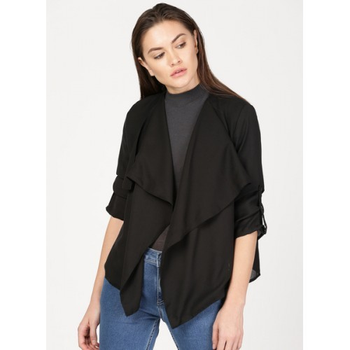 ether Black Solid Open Front Shrug