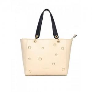 Addons Cream-Coloured Solid Tote Bag