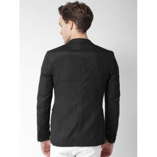 Mast & Harbour Men Black Single-Breasted Party Blazer