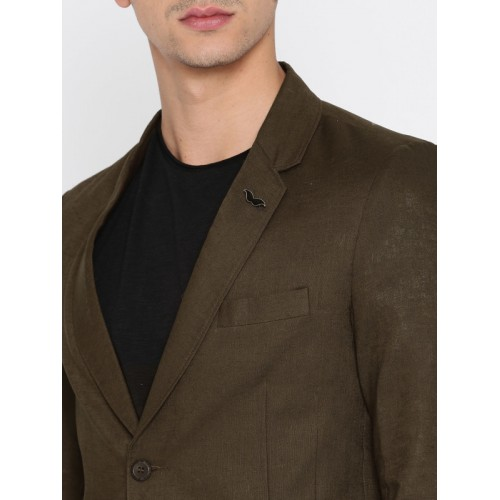 The Indian Garage Co Brown Slim Fit Single-Breasted Casual Blazer