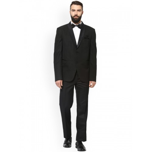 Hangup Black Regular Fit Single-Breasted Tuxedo Blazer
