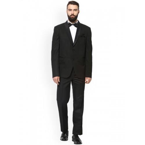 Hangup Black Regular Fit Single-Breasted Tuxedo Blazer