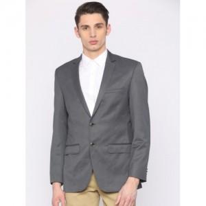 Park Avenue Men Charcoal Grey Solid Slim Fit Smart Casual Blazer