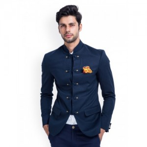 MR BUTTON Navy Blue Cotton Solid Ethnic Blazer