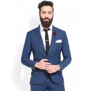 MR BUTTON Teal Blue Slim Fit Party Blazer