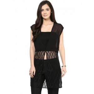 109F Black Polyester Sheer Lace Shrug
