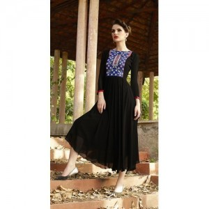 Kvsfab Black Embroidered Frock Style Kurti
