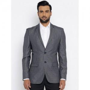 Park Avenue Blue & White Checked Single-Breasted Slim Fit Formal Blazer