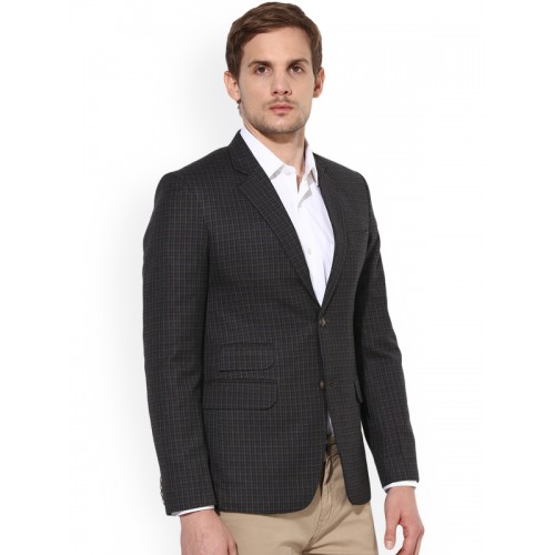 313ee8cbb673 ... Ennoble Men Black   Brown Checked Single-Breasted Tailored fit Formal  Blazer ...