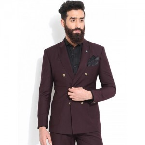 MR BUTTON Purple Slim Fit Double-Breasted Formal Blazer