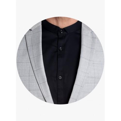 Jack & Jones Grey Viscose Checked Regular Fit Blazer