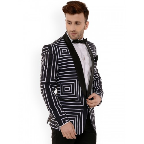Hangup Men Black & White Geometric Print Tuxedo Blazer