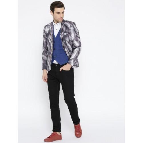 Jack & Jones Grey & White Printed Slim Fit Party Blazer