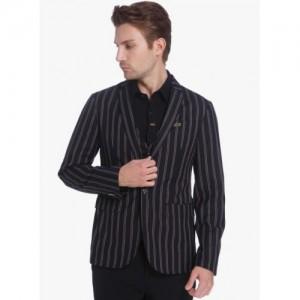 Jack & Jones Black  Viscose Striped Blazer