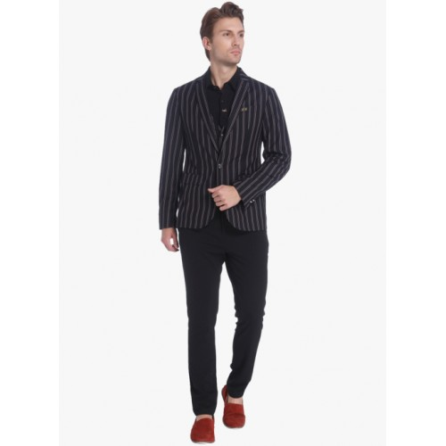 Jack & Jones Black  Viscose Striped Blazer
