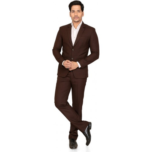 3210899e062 ... abc garments Self Design Double Breasted Formal Men's Blazer (Brown) ...