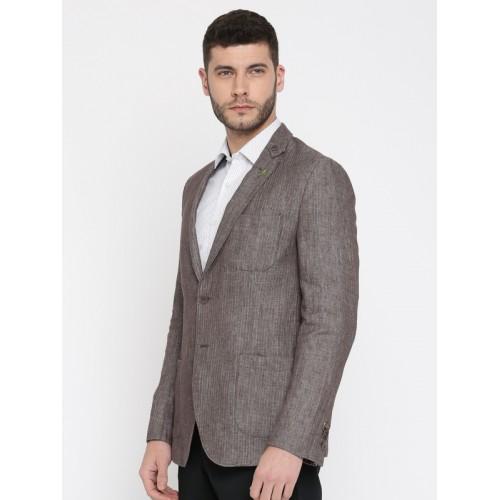 Van Heusen Brown Linen Self-Design Slim Fit Single-Breasted Formal Blazer