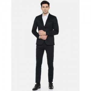 Arrow New York Navy Blue Polyester Zero Calorie Fit Suit