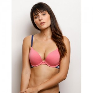 Zivame Pink Solid Underwired Heavily Padded Push-Up Bra