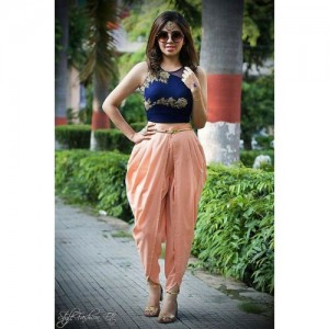 Vastrabazar Peach Silk Dhoti with Crop Top