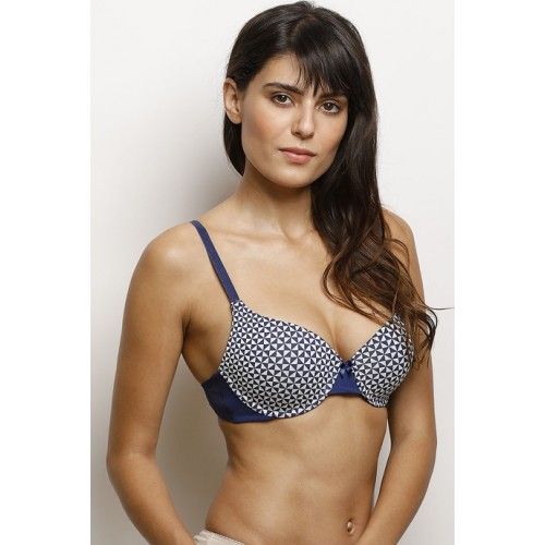 Zivame Navy Blue Moroccan Lace Moderate Lift Underwired Bra
