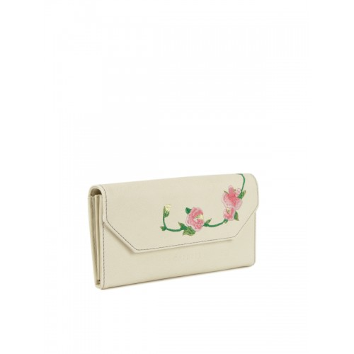 Caprese Women Off-White Solid Two Fold Wallet