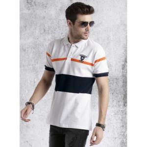 Roadster Men White Striped Polo T-shirt