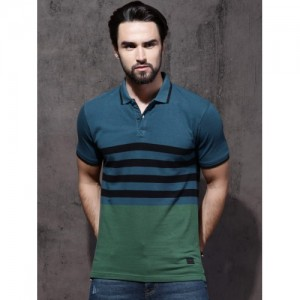 Roadster Blue & Green Striped Polo Collar T-shirt