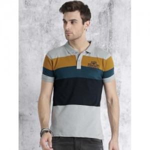 Roadster Grey & Blue Striped Polo Collar T-shirt