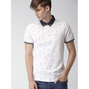 Tommy Hilfiger Men White Printed Slim Fit Polo Collar T-shirt