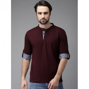 HERE&NOW Burgundy Solid Mandarin Collar T-shirt