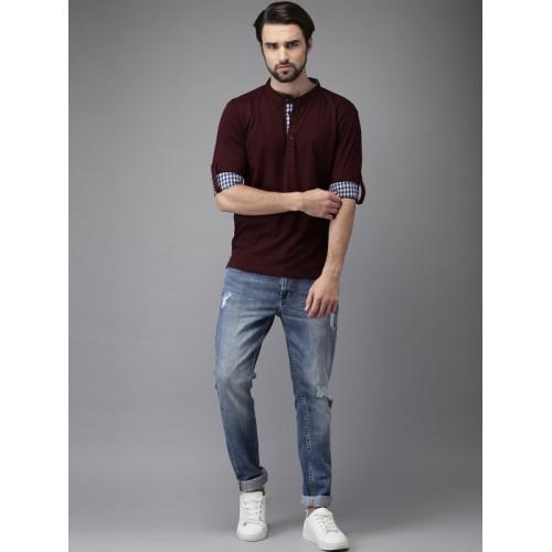 HERE&NOW Burgundy Solid Mandarin Collar T-shirt