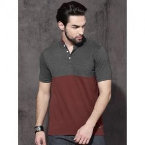 Roadster Men Charcoal Colourblocked Mandarin Collar T-Shirt