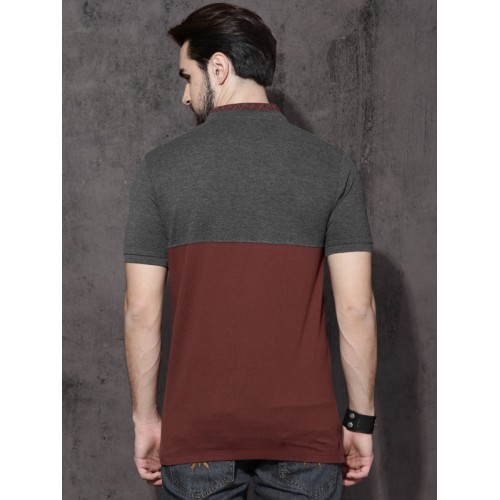 Roadster Men Charcoal Colourblocked Mandarin Collar T-Shirt