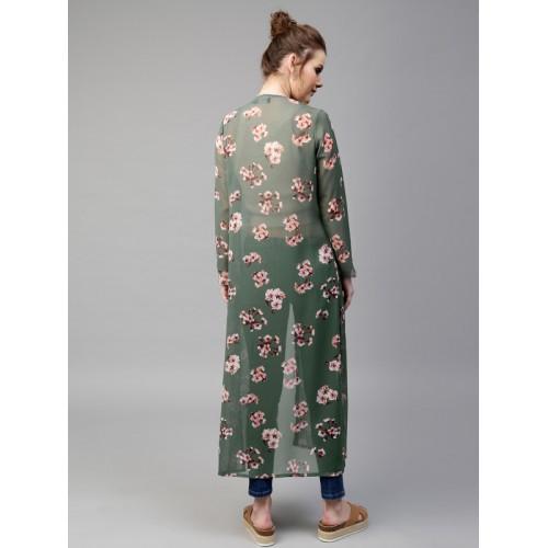SASSAFRAS Green & Pink Floral Print Sheer Longline Open Front Shrug