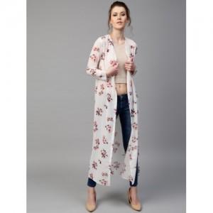 SASSAFRAS White & Pink Floral Print Longline Open Front Shrug