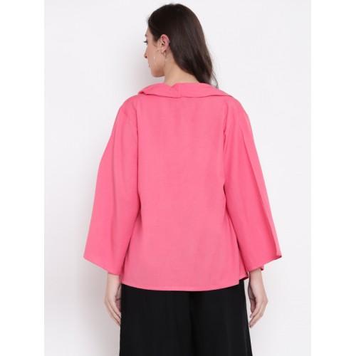 Global Desi Pink Solid Tie-Up Shrug