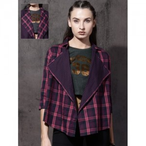 Roadster Pink & Navy Checked Open Front Shrug