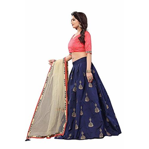 Bhakti Nandan Creation Blue & Pink Embroidered Silk Lehenga Choli