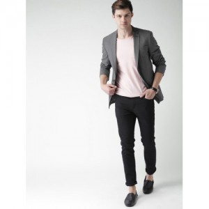 Mast & Harbour Grey Checked Single-Breasted Smart Casual Blazer