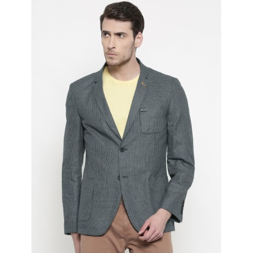 The Indian Garage Co Men Grey & Black Self-Design Slim Fit Casual Blazer