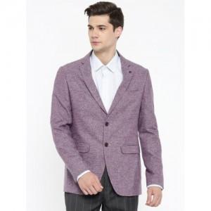 df25079ad3edd2 Peter England Elite Purple Self-Designed Single-Breasted Neo Slim Fit  Formal Blazer